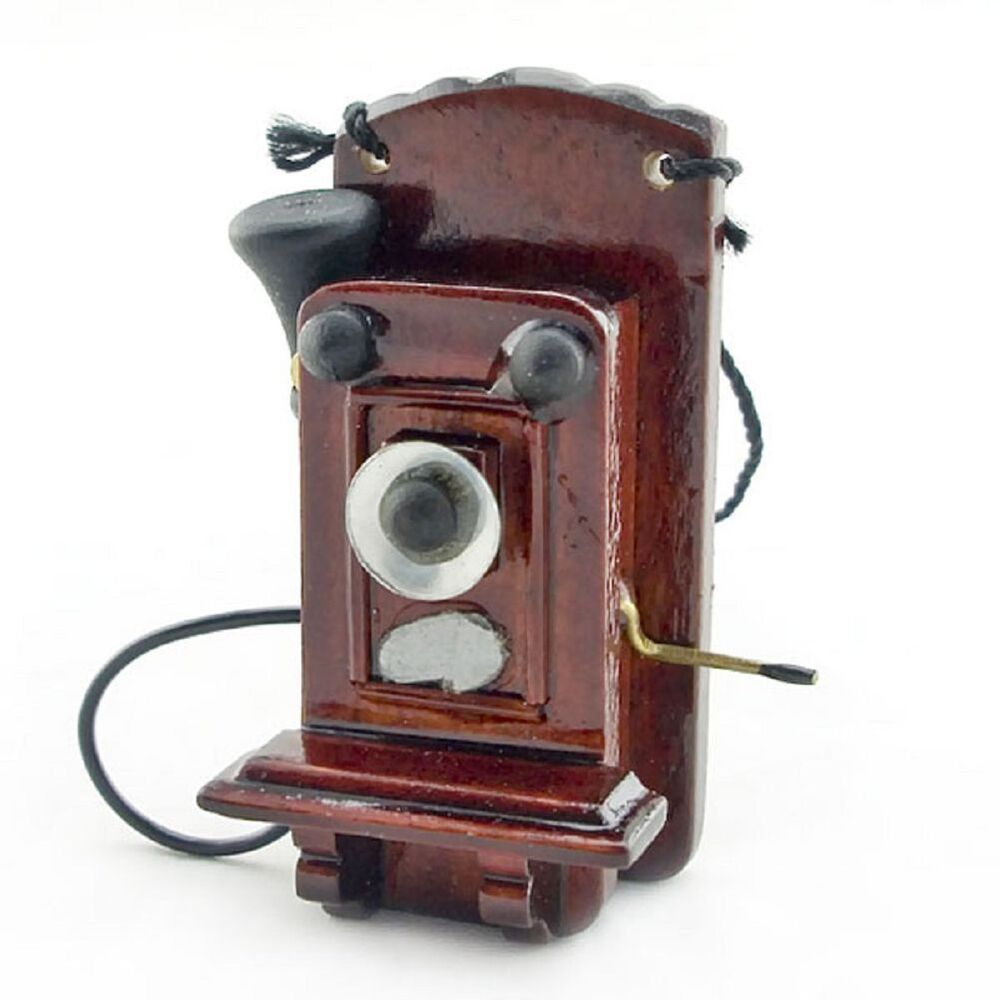 Mahogany Wood Antique Old Wall Telephone 1/12 Doll's House