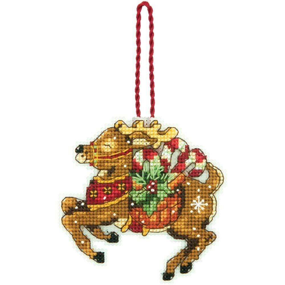 Reindeer Christmas Tree Ornament Counted Cross Stitch Kit ...