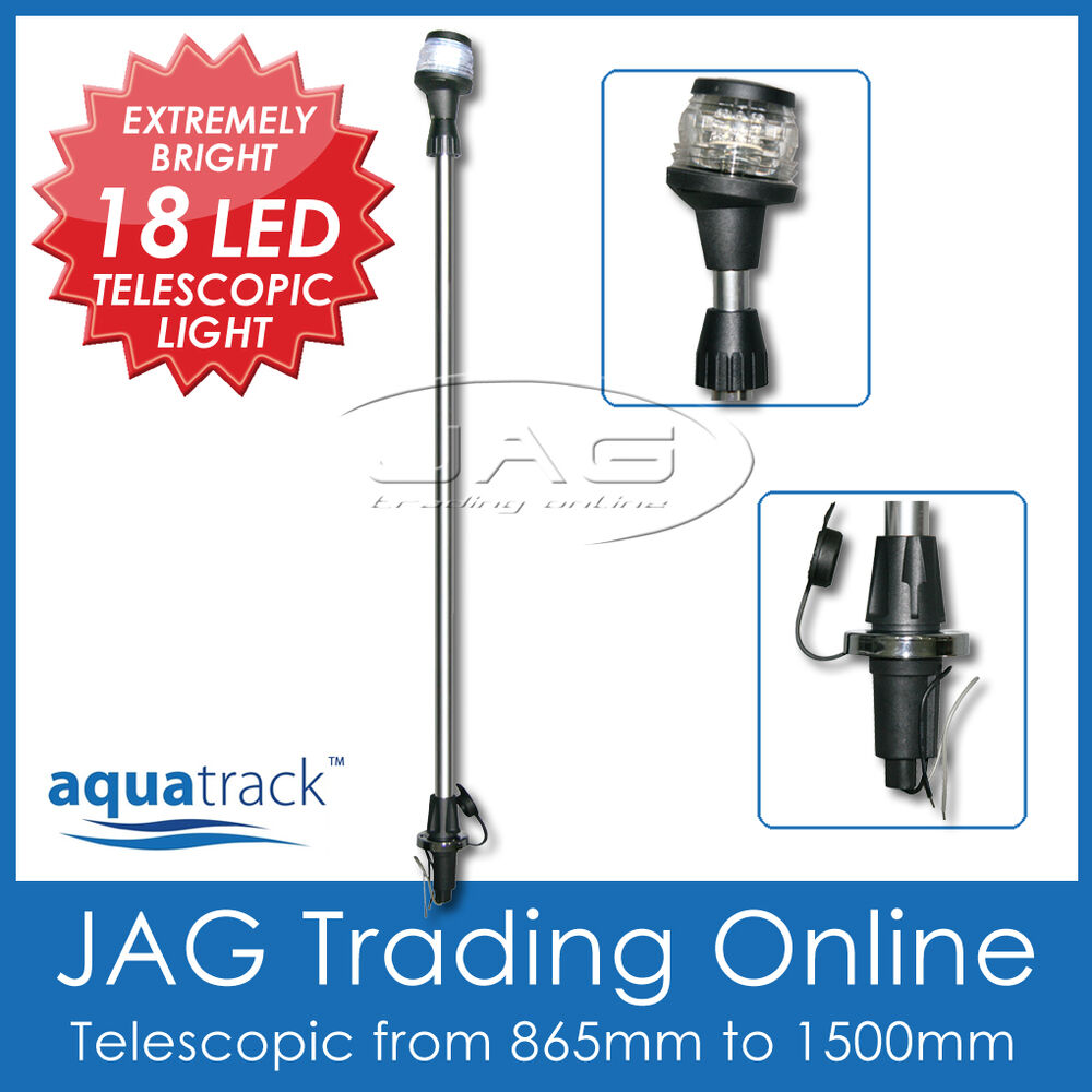 Led Boat Pole Lights: 18-LED TELESCOPIC PLUG-IN ANCHOR LIGHT-All Round White