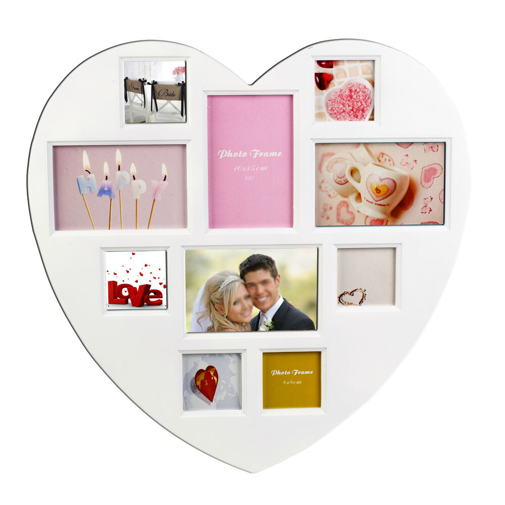 heart shape multi photo picture frame wall hanging collage