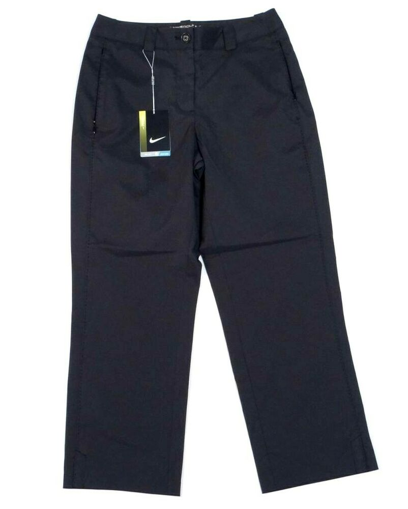 New Womens Jamie Sadock Black Golf Flat Front Capri Cropped Pants Size 8