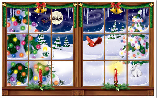 Christmas Wall Scene Decorations : Snowy window setter christmas holiday winter party