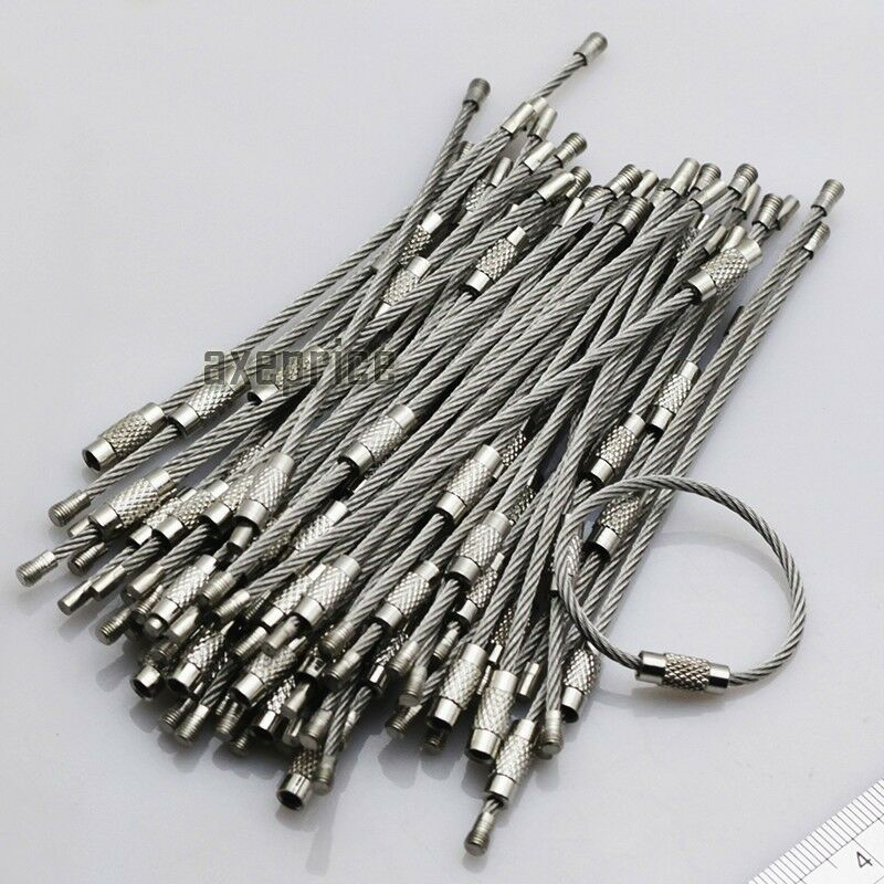 100pcs Stainless Steel Wire Keychain Cable Screw Clasp Key