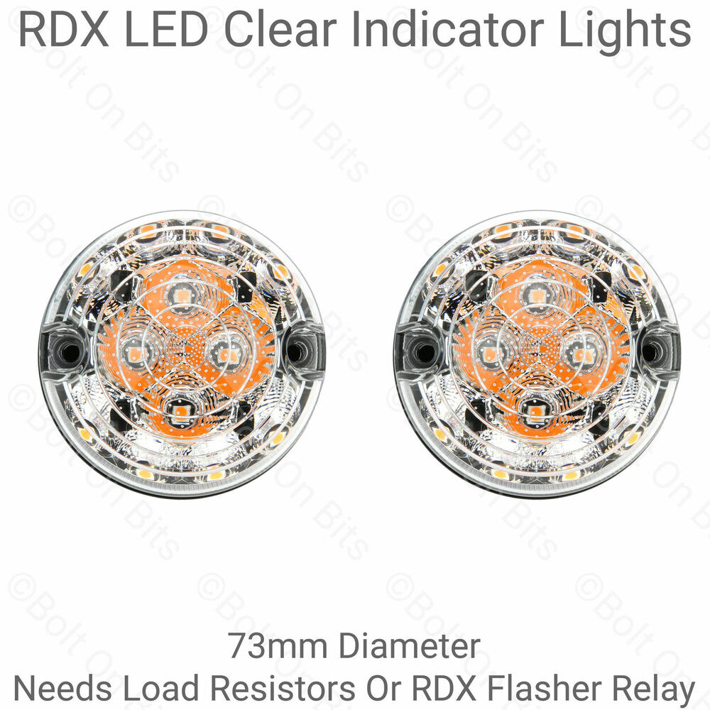 Pair Of Clear Front Indicator Lights For Land Rover: RDX LED Clear Front Indicator Lamp/lights Classic Mini