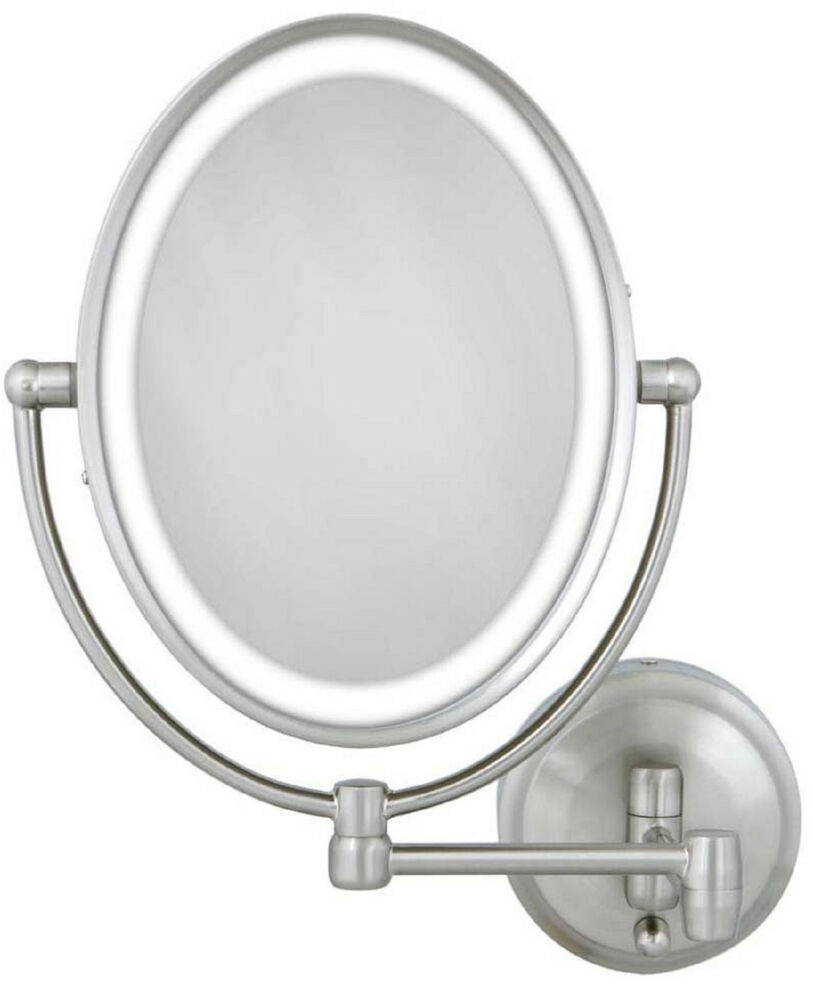 zadro 1x 10x cordless corded oval led lighted wall mount makeup mirror. Black Bedroom Furniture Sets. Home Design Ideas