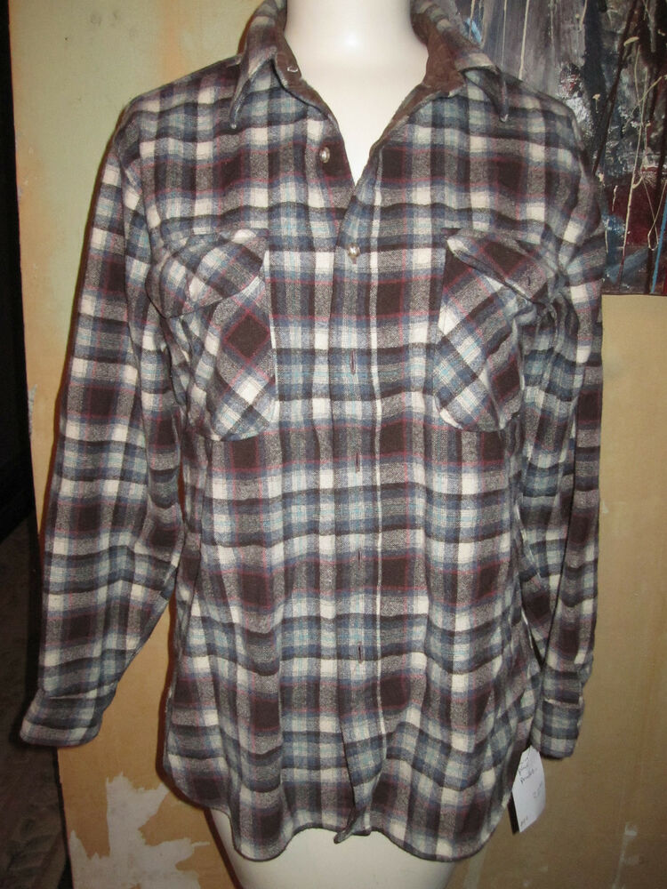Vintage pendleton teal brown red plaid 49er jacket shirt for Brown and black plaid shirt