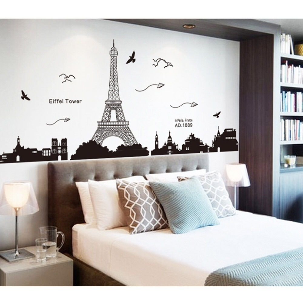 Living Room Decor Rooms paris bedroom decor ebay home removable eiffel tower art decal wall sticker mural diy