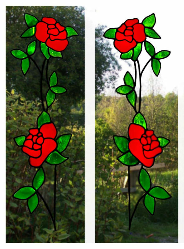 trailing roses stained glass effect window cling ebay. Black Bedroom Furniture Sets. Home Design Ideas