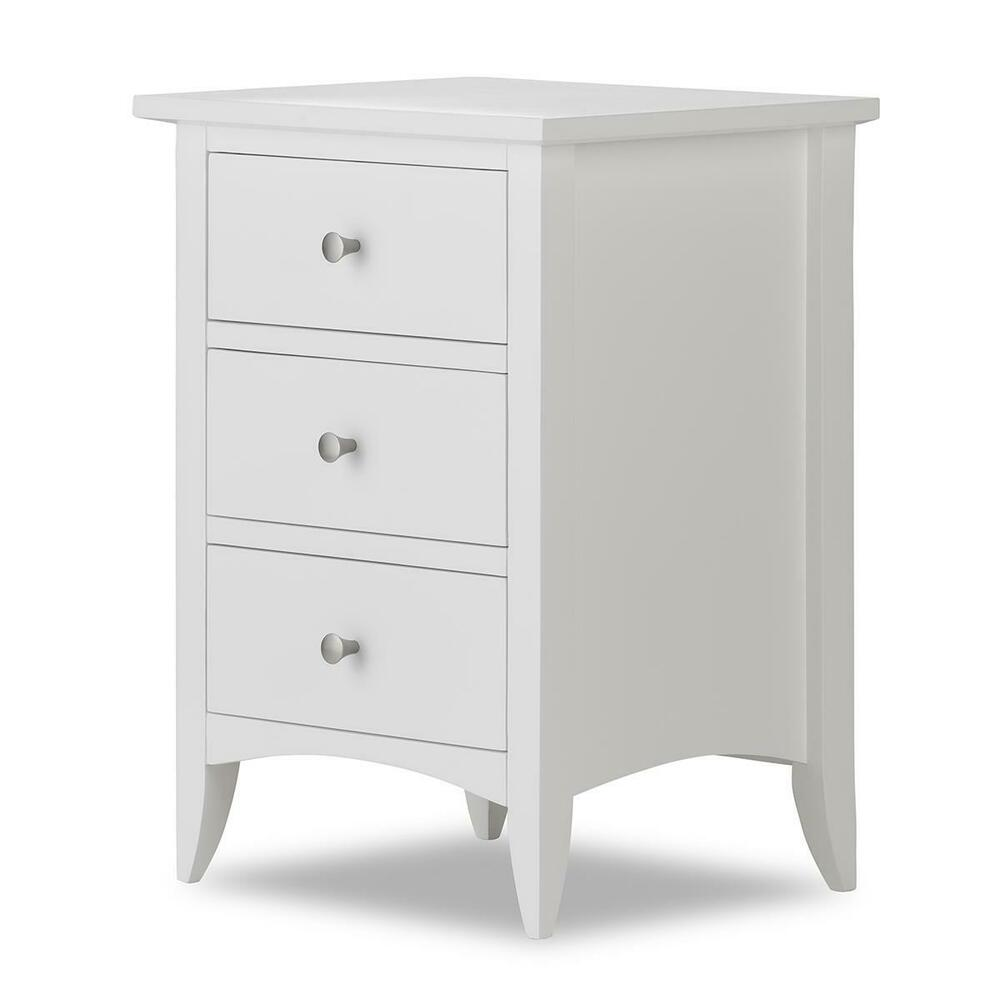 Edward Hopper White Bedside Table With 3 Drawers