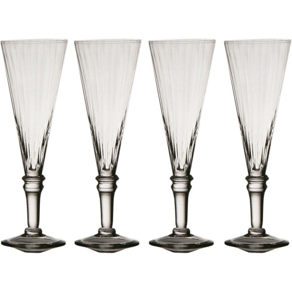Set of 4 clear ribbed champagne flutes wine flute drinks party wedding glasses ebay - Fluted wine glasses ...