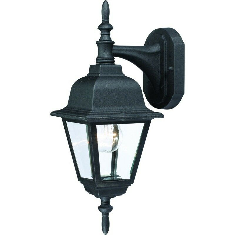 Matte black outdoor patio porch exterior light fixture for Outdoor yard light fixtures