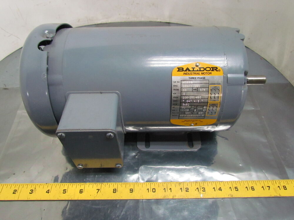 Baldor m3559 rebuilt 3 hp 3450 rpm 208 230 460v 3ph 56 for Dc motor 1 3 hp