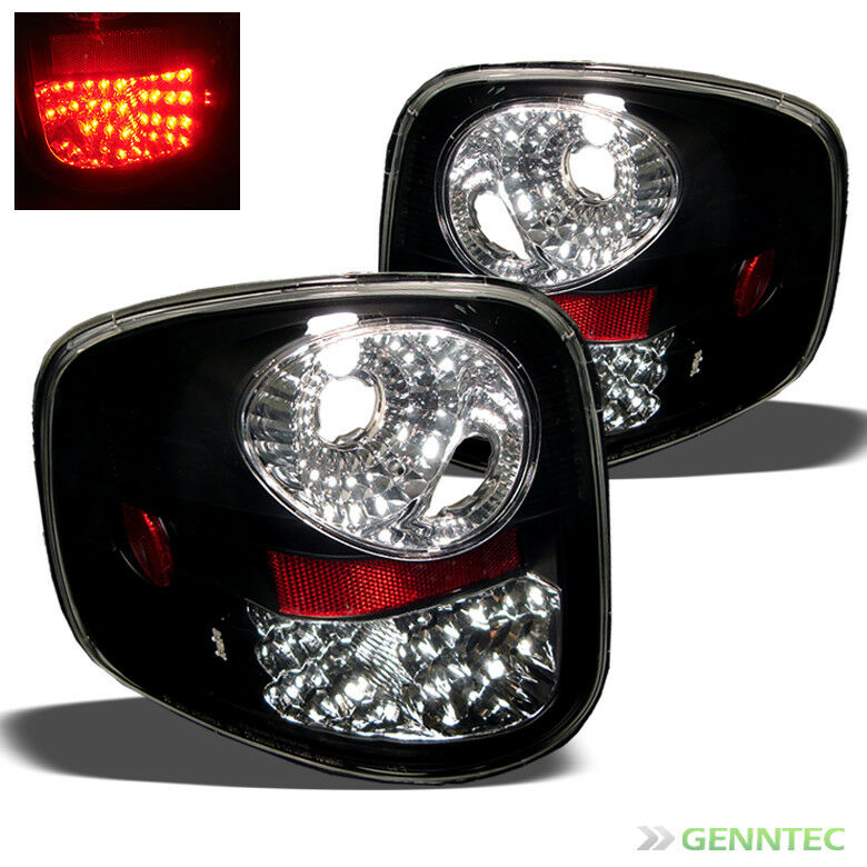 for 97 03 ford f150 flareside black led tail lights rear brake lamps. Black Bedroom Furniture Sets. Home Design Ideas
