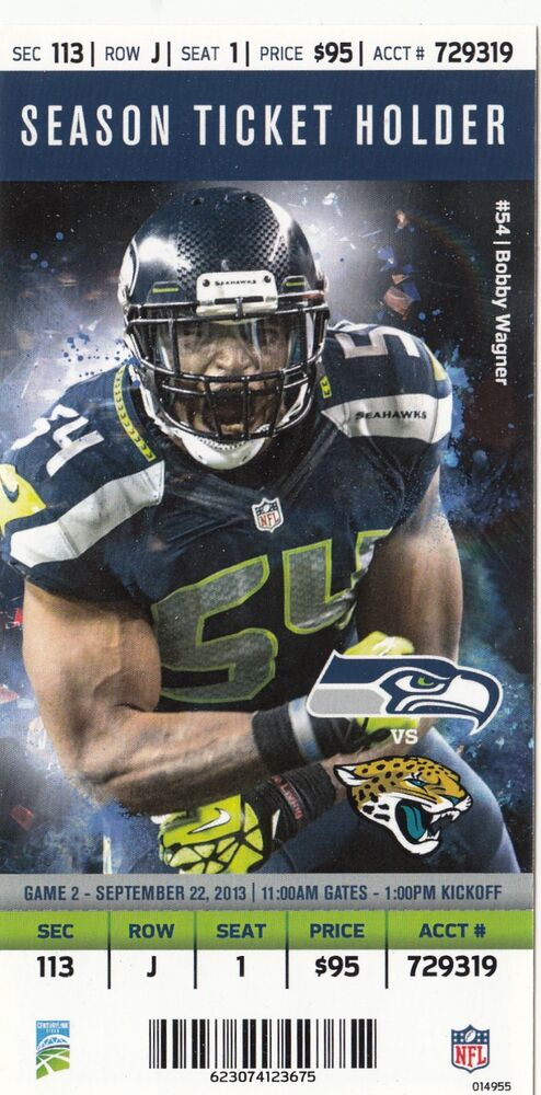 2013 seattle seahawks vs jacksonville jaguars ticket stub 9 22 13. Cars Review. Best American Auto & Cars Review