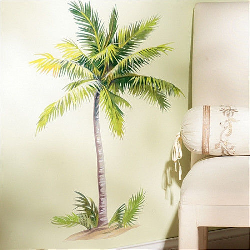wallies palm tree wall sticker mural 6 decal tropical leaves 32 tall room decor ebay. Black Bedroom Furniture Sets. Home Design Ideas