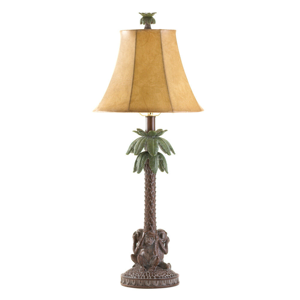 Tropical Monkey Bahama Palm Tree Table Lamp eBay