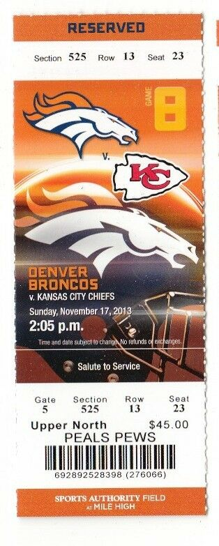 2013 Denver Broncos Vs Kansas City Chiefs Ticket Stub 11