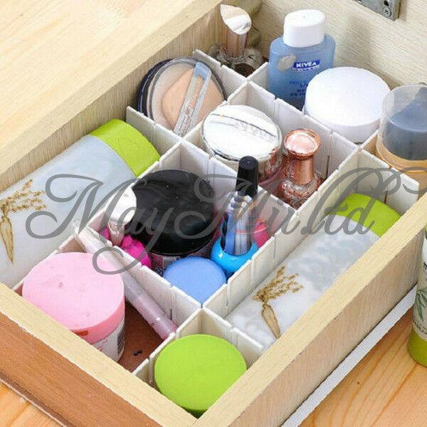 6 Pcs Home White Plastic Diy Grid Drawer Divider Container
