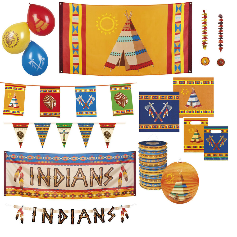 indianer dekoration geburtstag party wimpelkette luftballons fahne girlande ebay. Black Bedroom Furniture Sets. Home Design Ideas