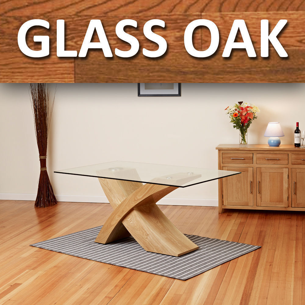 Glass Top w Oak Cross Base Dining Table Room Furniture  : s l1000 from www.ebay.co.uk size 1000 x 1000 jpeg 162kB