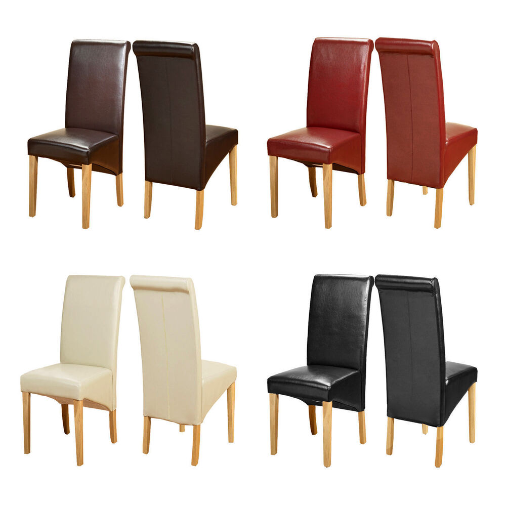 Top quality leather dining chairs roll top scroll back oak for Best quality dining tables