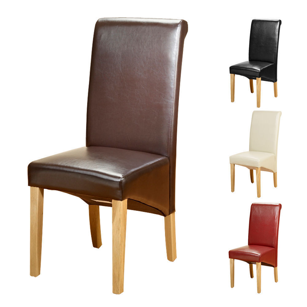 4 Faux Leather Pu Dining Chairs Scroll Back Oak Leg