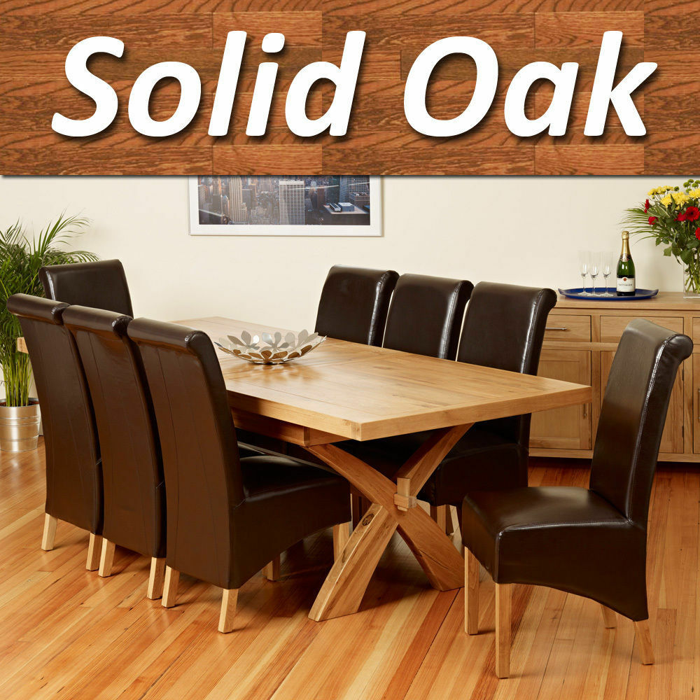 Solid Oak Extending Dining Table Set Cross Legs 6 8 Chairs Room Furniture 200