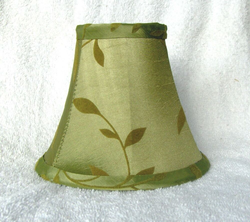 Sage w/Felt Leaves Fabric Chandelier Lamp Shade Green ...
