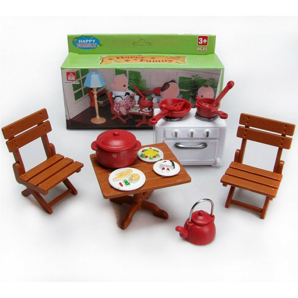 table chair stove dishes for sylvanian families furryville