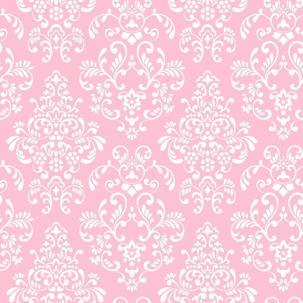 Wallpaper by the yard pink white damask wallpaper babies for Damask wallpaper