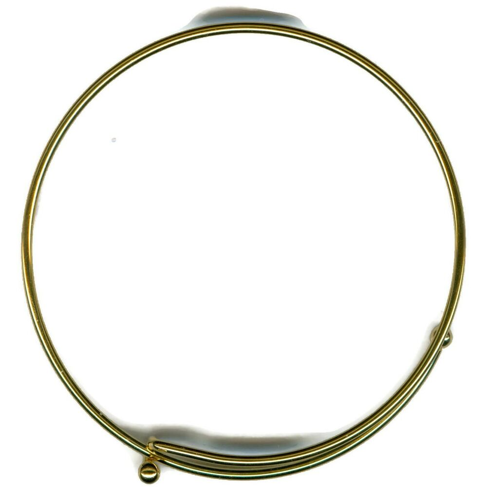 Wire Bangle Charm Bracelet: Lot Of 25 14KT Gold EP Expandable Charm Wire Bangle