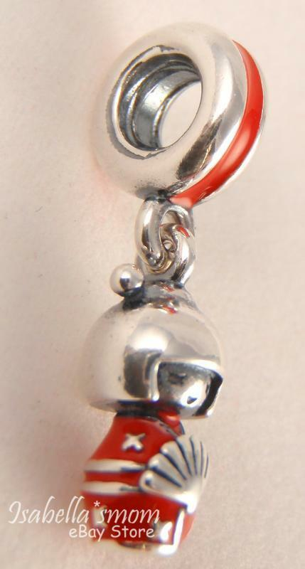 Japanese Doll Authentic Pandora Silver Red Enamel Dangle