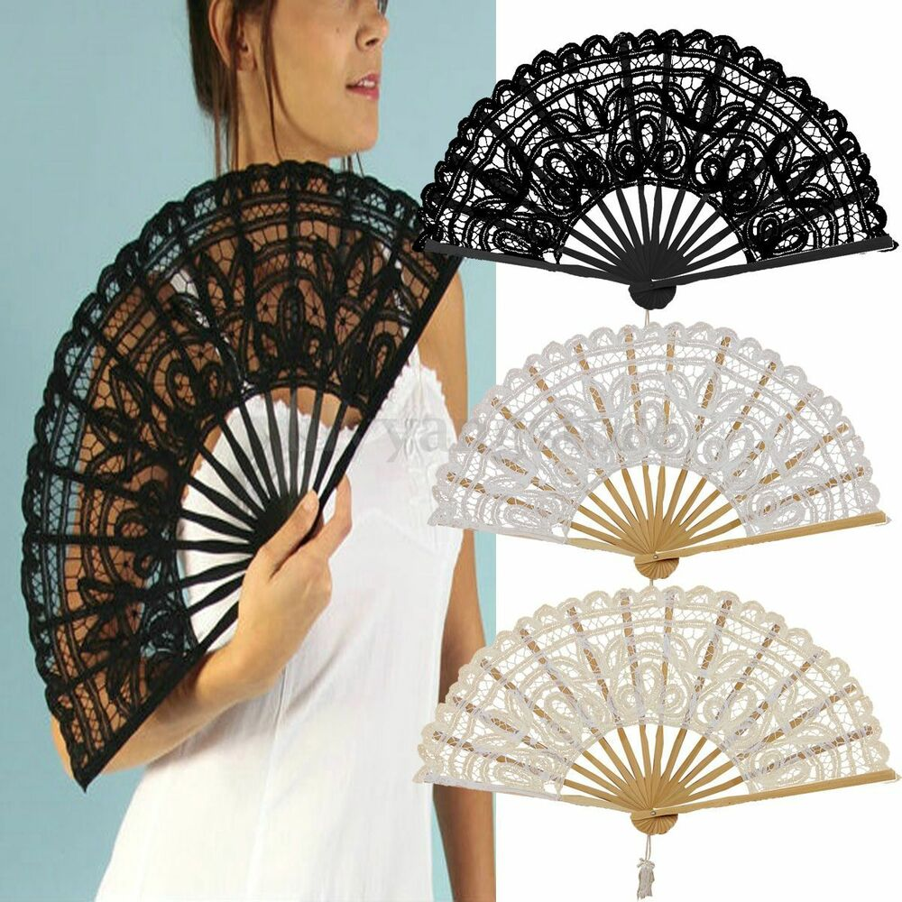 Z5W7 Handmade Cotton Lace Folding Hand Fan for Party Bridal Wedding Decoration