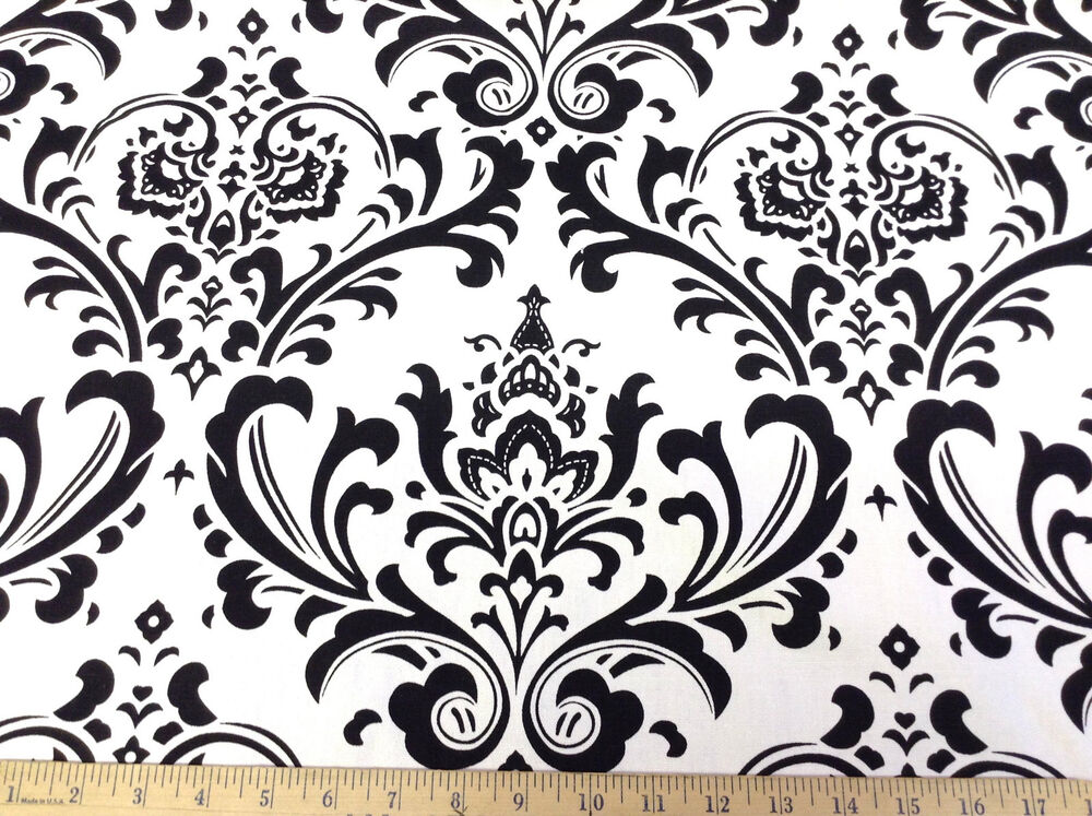 Discount fabric premier prints traditions black and white for Cheap black and white prints
