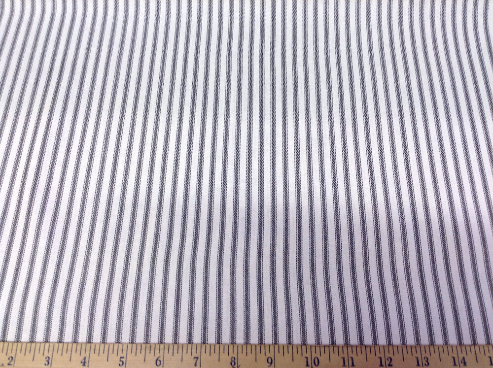Discount fabric premier prints classic stripe black and for Ticking fabric