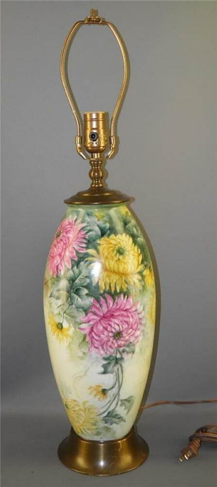 Antique B Amp C Limoges France Large Vase Banquet Table Lamp Painted Chrysanthemum Ebay