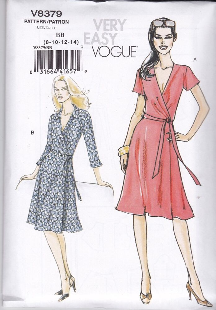 Vogue Very Easy Sewing pattern Misses' Front Wrap Dress ...
