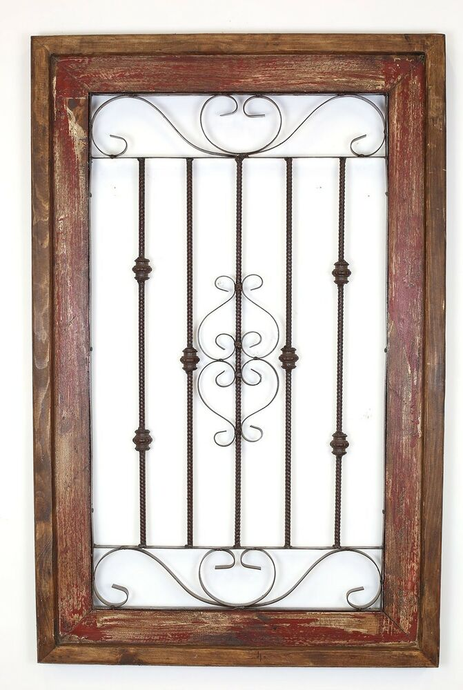 Spanish rustic architectural wall window wood iron home for Rustic home decor and woodworking