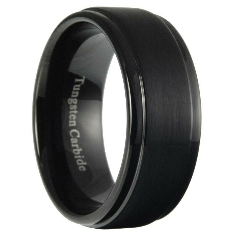 Rubber Wedding Band >> 9mm Tungsten Carbide Mens Brushed Stepped Edges Black Wedding Band Ring 7-15 | eBay