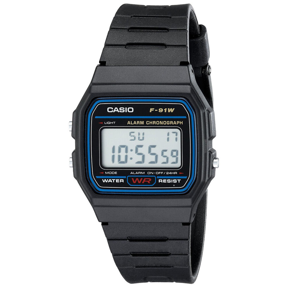 Casio F91W-1 Classic Water Resistant LCD Digital Black ...