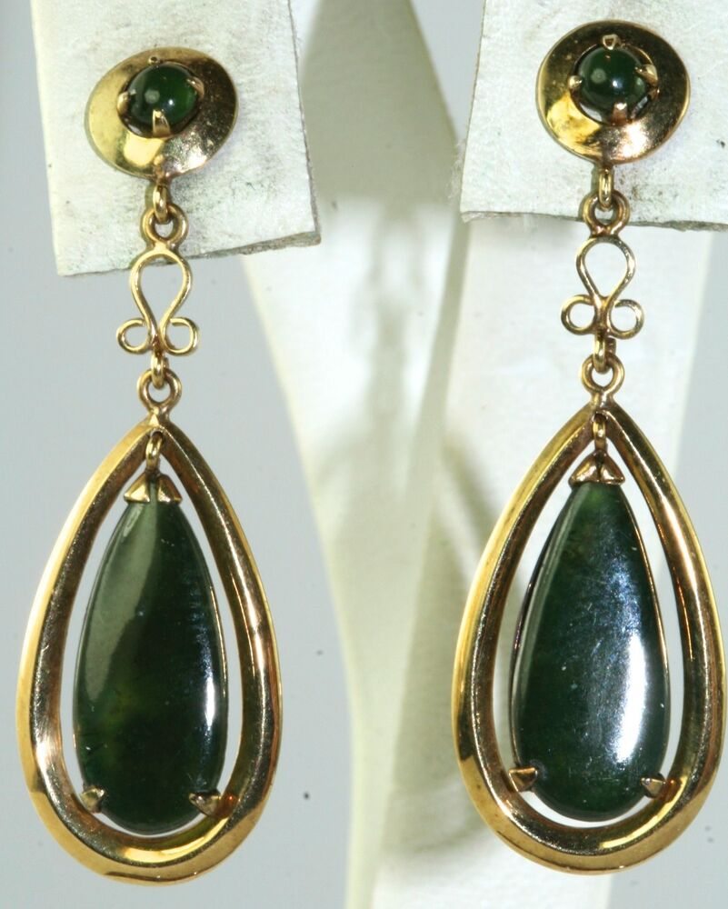 vintage hong kong 14k gold dangling jade earrings ebay