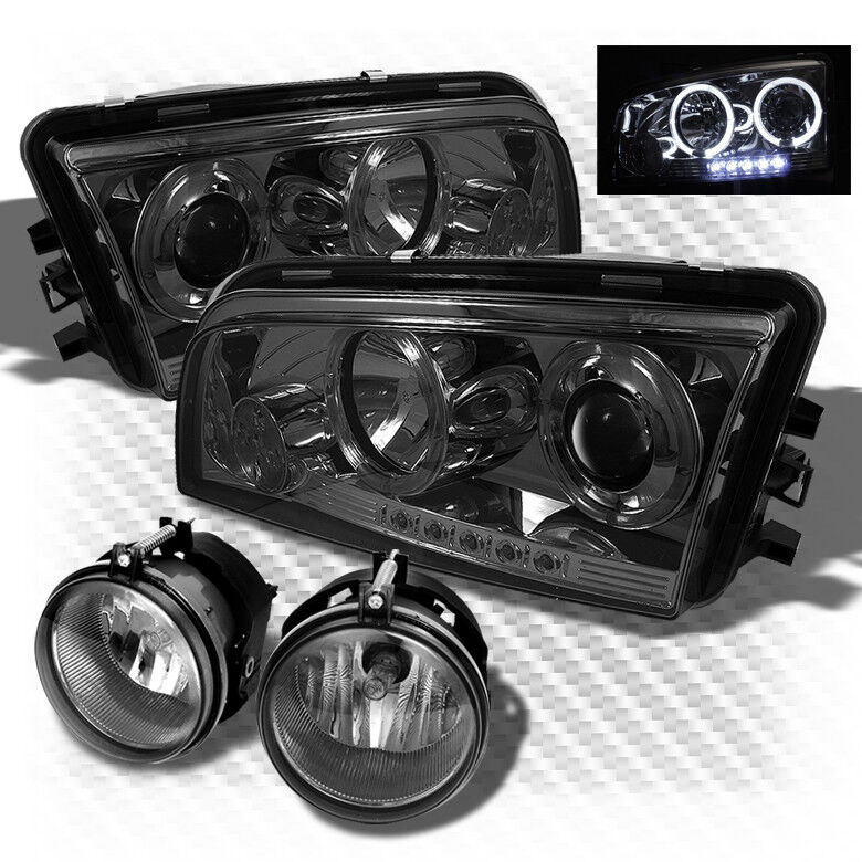For 06 10 Charger Twin Halo Led Smoked Projector