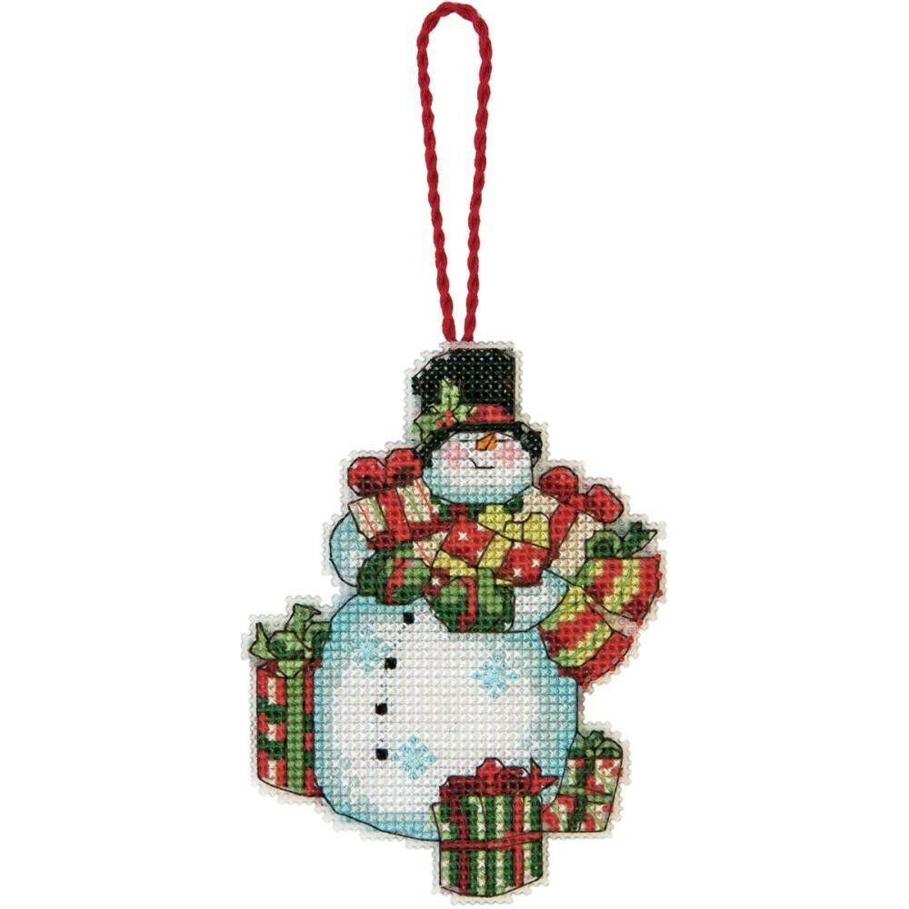 Snowman with gifts christmas tree ornament counted cross for Christmas tree photo ornaments