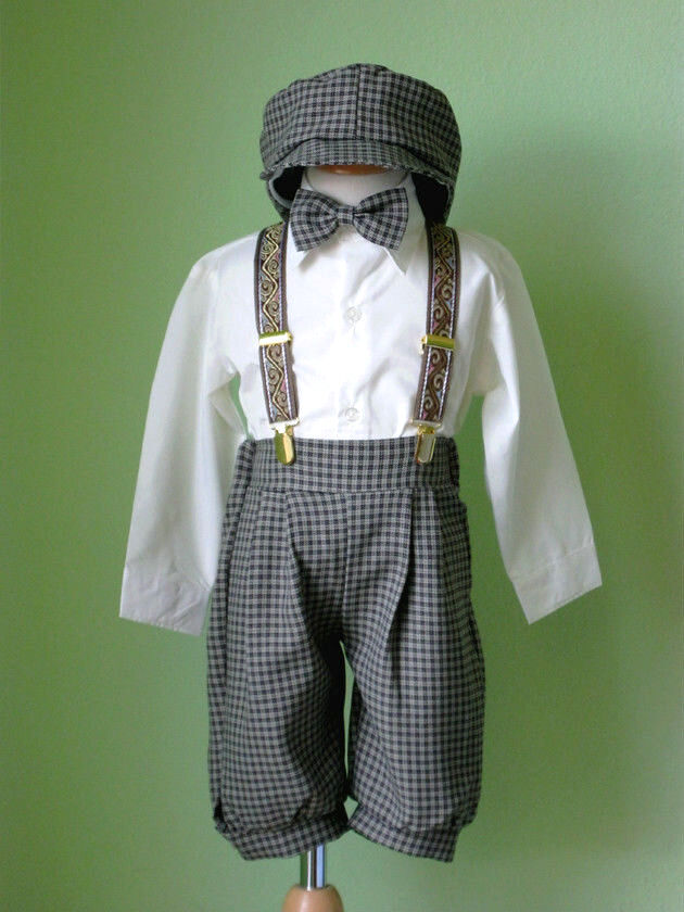 Toddler Boy Knickers Vintage Outfit Set  Ivory  Brown Size