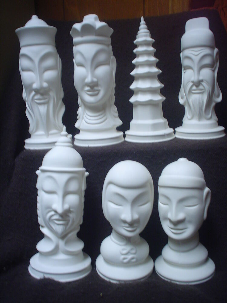 E472 Ceramic Bisque Large Chinese Dinasty Chess Set