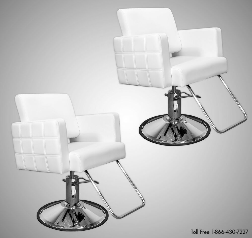 Two 2 white quilted styling chairs round base beauty for Beautician furniture