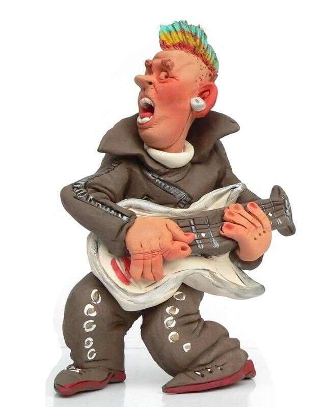Rock and Roll Star Pottery Figurine Guitar Player Music ...