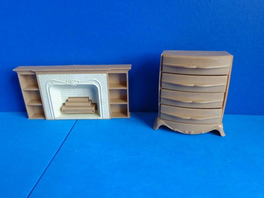 Vintage Dollhouse Plastic Furniture Fireplace Chest Ebay