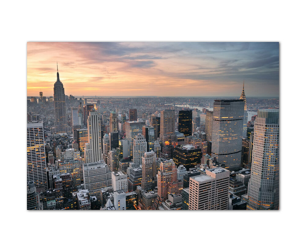 120x80cm skyline von new york am abend modernes wandbild - Wandbild new york ...