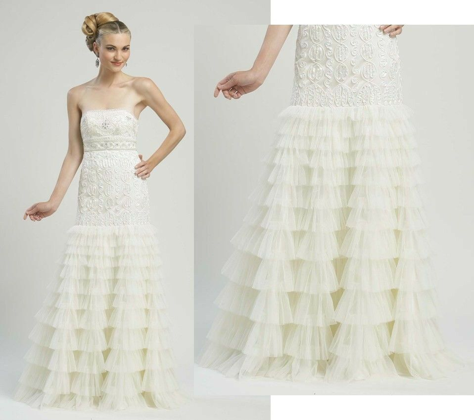 Tiered Wedding Gown: SUE WONG GOWN RUFFLE TIERED SKIRT BEADED WHITE WEDDING